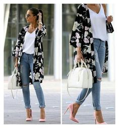 50 Spring Fashion styles for the year Maxi Outfits, Casual Fall Outfits, Casual Dresses, Cute Outfits, Fashion Outfits, Womens Fashion, Motif Kimono, Floral Kimono, Motif Floral