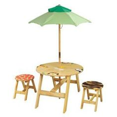Teamson Kids Outdoor Table and 2 Chairs Set - Sunny Safari-  Outdoor Collection