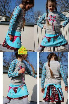 Für den Frühling sind wir natürlich auch gerüstet - eine Kombi aus Shirt und Schürzenrock mit vielen Stick- und Applikationsdetails und ganz viel Hamburger Liebe für unsere große Tanzmaus.