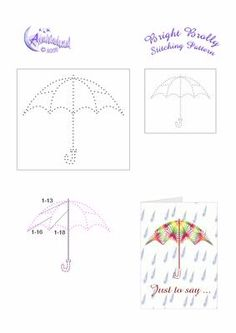 Bright Brolly on Craftsuprint designed by Diana Hutchinson - A stitching pattern for an umbrella in two sizes. Instructions are included on the sheet. - Now available for download!