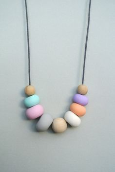 The Pastel Handmade clay bead necklace by tinytdesigns on Etsy