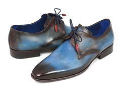 Blue & Brown hand-painted leather. Upper blue burnished leather sole. Leather wrapped laces with two eyelets. Derby style plain-toe. This is a made-to-order product. Please allow 15 days for the delivery. Because these shoes are hand-painted and couture-level creations, each item will have a unique hue and polish, and color may differ slightly from the picture.
