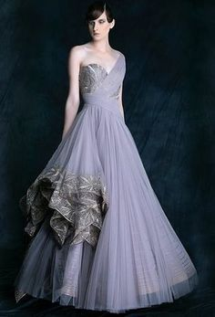 Wedding Cocktail Gowns - Lavender Tube Frock Gown with Silver Border Flairs, Draped like a Sari Gown | WedMeGood #wedmegood #cocktail #gowns #lavender