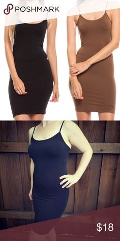 """NWT Bodycon Slip Solid Stretch Dress Cami One size fits most 36"""" long. Must have wardrobe staple! Wear under anything slightly see through or use as light shapewear to smooth over under the dress. 92% nylon 2% spandex. Choose color at checkout. ✅ Yes I Like Offers ✅ Bundle Discounts 🎁 Free Gift $35 orders pre-shipping ❌ Trades Boutique Intimates & Sleepwear Chemises & Slips"""