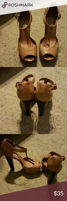 Heels Luggage color T-Strap Platforms. Used with small scratches on side. Steve Madden Shoes Platforms