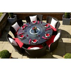 Found it at Wayfair - Ceets Nightingale 7 Piece Dining Set with Cushions - Upholstery: Red