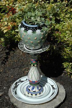 yard art totems | Yard Art Garden Totem Ginger Jar Planter by RecycledBySkattur
