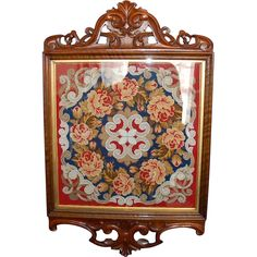 19th Century English Glazed & Framed Needlepoint & Beadwork Shield