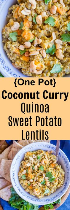 One Pot Coconut Curry Quinoa Lentils and Sweet Potato - A delicious and really easy vegan one pot meal!  It's a great comforting dinner that you'll want to keep making.  Vegan/One Pot Meal/ Easy Dinner