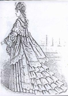 "13.5""ANTIQUE FRENCH FASHION LADY DOLL@1873 BUSTLE DRESS w/HOODED MANTLE PATTERN   eBay"