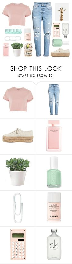 """rose"" by sofhiree20 ❤ liked on Polyvore featuring Topshop, H&M, Superga, Narciso Rodriguez, Essie, Chanel and Calvin Klein"