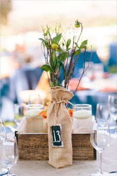 rustic wedding table numbers / http://www.deerpearlflowers.com/rustic-wedding-details-ideas-you-will-love/2/
