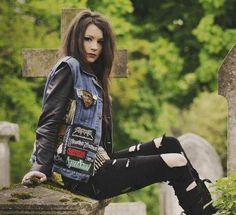Grunge. Rock. Jean Vest. Ripped Jeans. Girl. Leather. Cute.