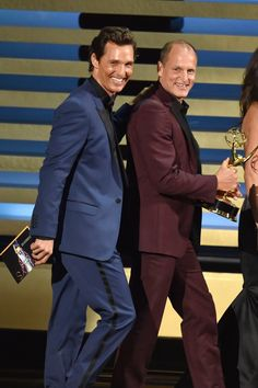 Pin for Later: Relive the Best Moments From the 2014 Emmys  Matthew McConaughey and Woody Harrelson took the stage together.