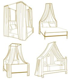 Here are other ideas for creating a bed canopy without buying a new bed frame. The site has diagrams and hardware information.