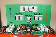 Use Hobby Lobby letters and butcher paper to re-create this adorable Scoreboard Background!