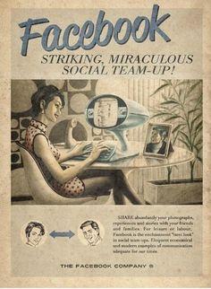 Facebook'un 60′lar stili reklam afişi kaynak: sosmed