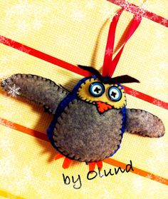 Felt owl decoration for our christmas tree. by Olund :o)
