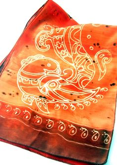 Silk Scarf, Hand Painted - Cinnamon Spiced, with henna peacock motif