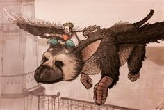 """Sketch 217: """"YOU'RE FLYING, TRICO!! YOU'RE FLYING!!!"""" @therealjacksepticeye enjoying the most breathtaking moment of The Last Guardian play through so far."""