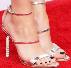 """Peyton sparkled in a silver metallic pair of Sophia Webster """"Rosalind"""" sandals Me Too Shoes, Buy Shoes, Strappy Heels, Stiletto Heels, Peyton List, Pumps, Gorgeous Feet, Fashion Heels, High Heels"""