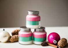Just a few simple ingredients make up these cute, gift-worthy DIY holiday candles, layered with holiday colors and scents.
