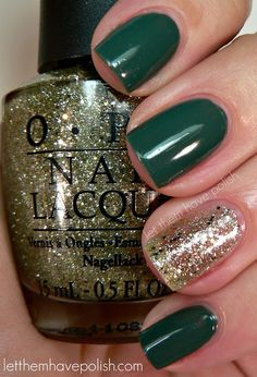 62 Super Ideas For Nails Green Glitter Gold Green Nail Art, Green Nail Polish, Green Nails, Sparkle Nails, Gold Nails, Pink Nails, Gold Sparkle, China Glaze, Nail Art Vert