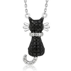 Sterling Silver Round Zirconia Black Cat Pendant On 18 Inch 925 Silver Chain * To view further for this item, visit the image link.Note:It is affiliate link to Amazon. #music