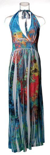 72904R-Blue-3X PLUS SIZE Halter Top Maxi Dress / Cover-up in Silky 'ITY' Fabric with Empire Waist and Floral Paisley Sublimation Print in Blue Size: 3X. From #Curve Appeal. List Price: $38.00. Price: $19.50