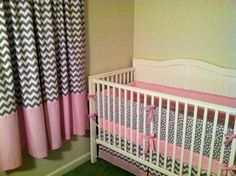 Modern Gray and Pink Crib Bedding by butterbeansboutique on Etsy, $335.00