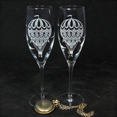 NEW 2 Hot Air Balloon Champagne Glasses, Vintage Style Travel Themed Wedding Decor, Personalized