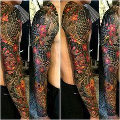 Badass Sleeve Tattoos, Tree Sleeve Tattoo, Dope Tattoos, Leg Tattoos, Girl Tattoos, Tattoos For Guys, Cover Up Tattoos Before And After, Pearl Tattoo, Koi Fish Tattoo
