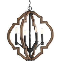 $383.33  iron & wood. Progress Lighting Spicewood Collection 4-Light Black Gilded Iron Chandelier
