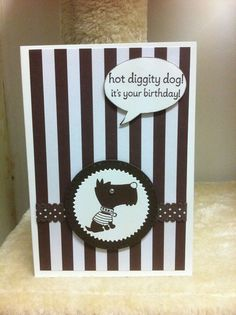 Handmade Birthday Card - suit all - Fun Card - Dog - Brown/White - Stampin Up Products