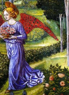 Gardening angel.  Benozzo Gozzoli, fresco detail from Adoration of the Magi, 1459, Palazzo Medici, Florence