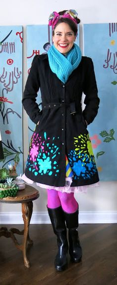 Cassie Stephens: DIY: A Paint-Splattery Needle-Felted Winter Coat!