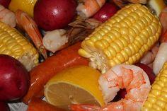 Shrimp Boil With Homemade Cocktail Sauce - double the recipe - large shrimp - new potatoes - corn on the cob - lemon - salt - Louisiana brand liquid crawfish boil seasoning - Louisiana brand powdered shrimp boil seasoning - butter