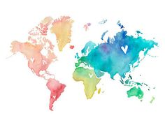 pretty red cute australia Cool orange green water blue pink purple colour world ocean sea yellow USA europe canada Asia multi map watercolou...