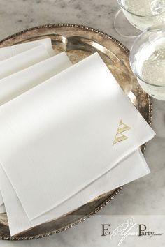 These personalized dinner, linen like, paper napkins will bring your celebration to the next level. Perfect for weddings, birthday parties, bridal showers, anniversaries, and many more. Create on ForYourParty.com.