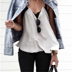 MINIMAL + CLASSIC, white tank, black denim, denim jacket, black lace bralette