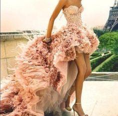 dress, pink, prom, high-low dresses, fluffy, tulle dress, bustier, corset dress, prom dress - Wheretoget