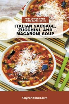 Best Soup Recipes, Great Recipes, Italian Sausage Soup, Zucchini Soup, Winter Recipes, Winter Food, Macaroni, Slow Cooker, Chili