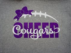 Custom Glitter Cheer Team Shirt, Long Sleeves, Hoodie. Customize for team name and colors! Custom Cheer Squad Sweatshirt, Cougars shown
