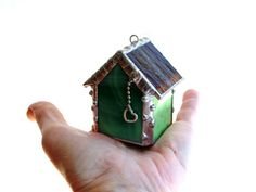 Stained glass house ornament little house by DesignsStainedGlass #housewarming #gift #newhouse