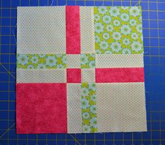http://chock-a-blockquiltblocks.blogspot.com/2012/04/disappearing-4-patch.html