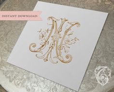 Vintage Wedding Monogram NI IN Digital Download N I middle design is a little too asian