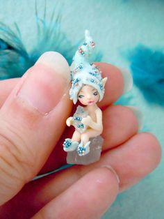 Tiny quartz fairy - miniature crystal pixie in light turquoise.