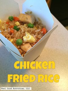 Chicken Fried Rice. Ingredients:  rice, sesame oil, soy sauce, peas, corn, carrot, egg, chicken