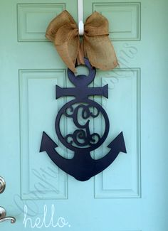Wooden Monogrammed Anchor Door Hanger by CraftyCuteDesignsNC on Etsy https://www.etsy.com/listing/231688840/wooden-monogrammed-anchor-door-hanger