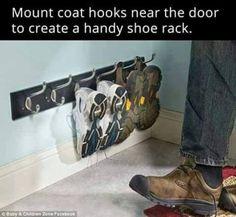 Great idea for a show rack using coat hooks @istandarddesign